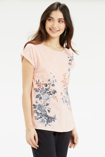 Oasis, Tonal Rose Placement T-Shirt Pale Pink 1