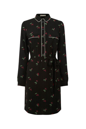Oasis, CHERRY PIPED SHIRT DRESS Multi 0