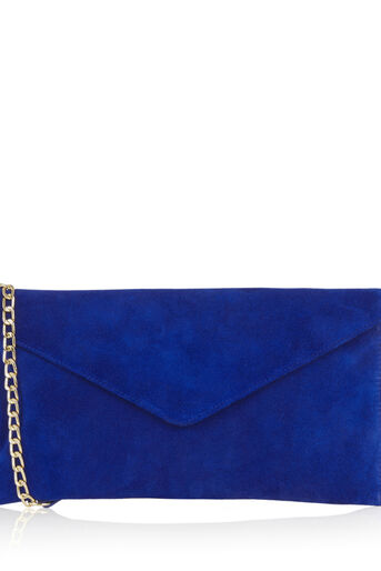 Oasis, SUEDE JESS ENVELOPE CLUTCH Rich Blue 0