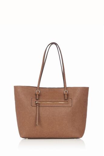 Oasis, Zip Detail Tote Bag Tan 0