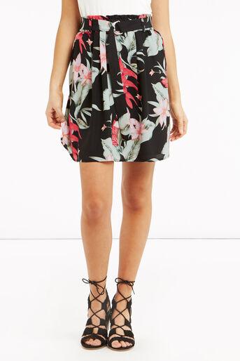 Oasis, Tropical Belted Skirt Multi Black 1