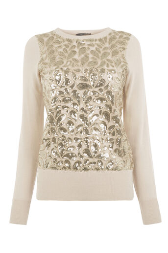 Oasis, LACE AND SEQUIN KNIT TOP Multi 0