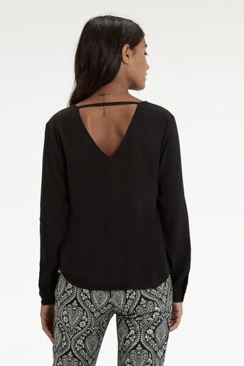 Oasis, Wrap Front V Back Shirt Black 3