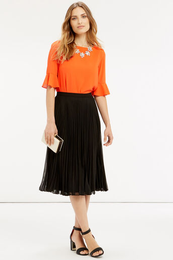 Oasis, Pleated Skirt Black 2