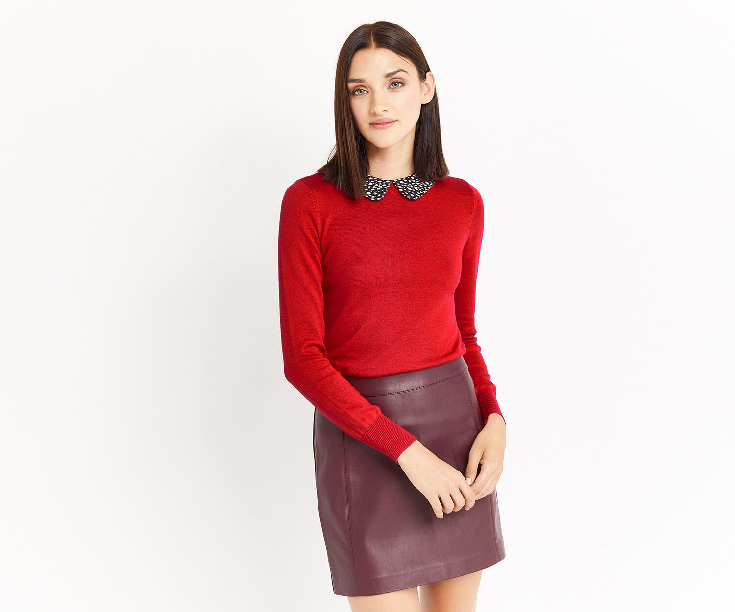 Oasis, Animal printed collar knit Rich Red 1