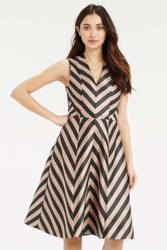 Oasis, Stripe Dress - Longer Length Multi Black 1
