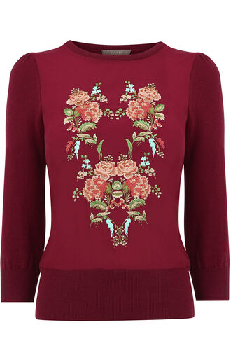 Oasis, Embroidered puritan knit Burgundy 0