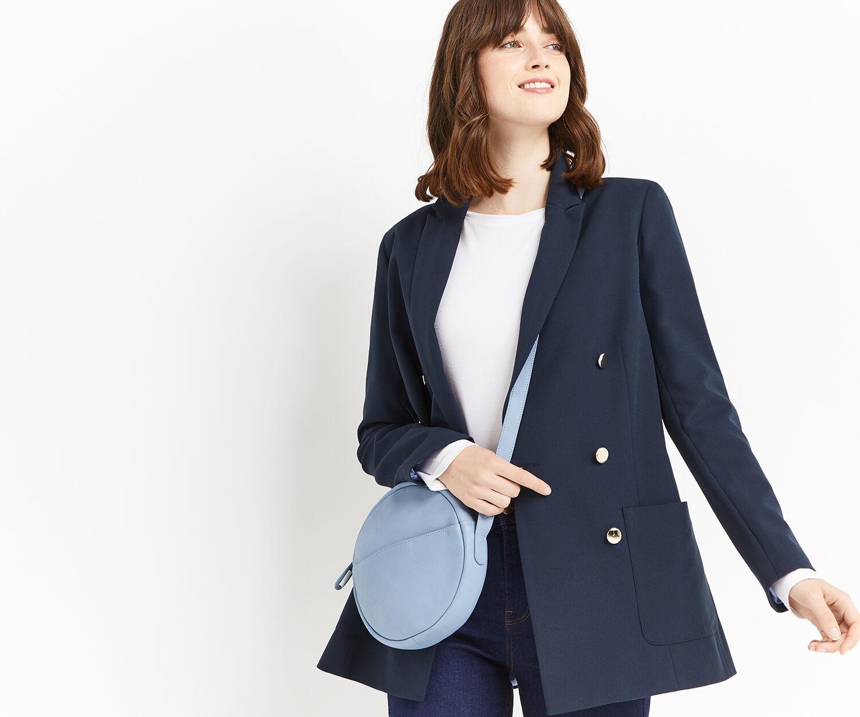 Oasis, LEATHER CIRCLE CROSS-BODY BAG Light Blue 1