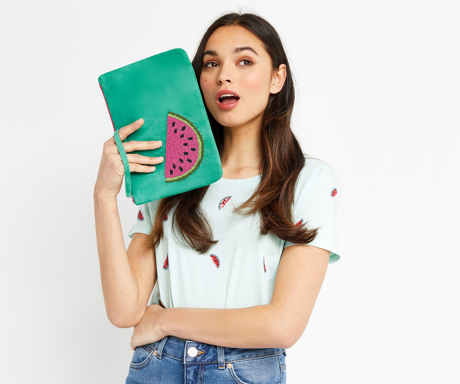 Oasis, WATERMELON CLUTCH Turquoise 1