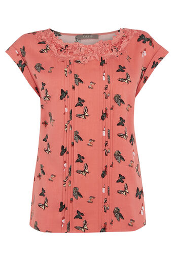 Oasis, Butterfly Lace T-Shirt Multi 0