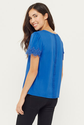 Oasis, LACE TRIM TEE Mid Blue 3