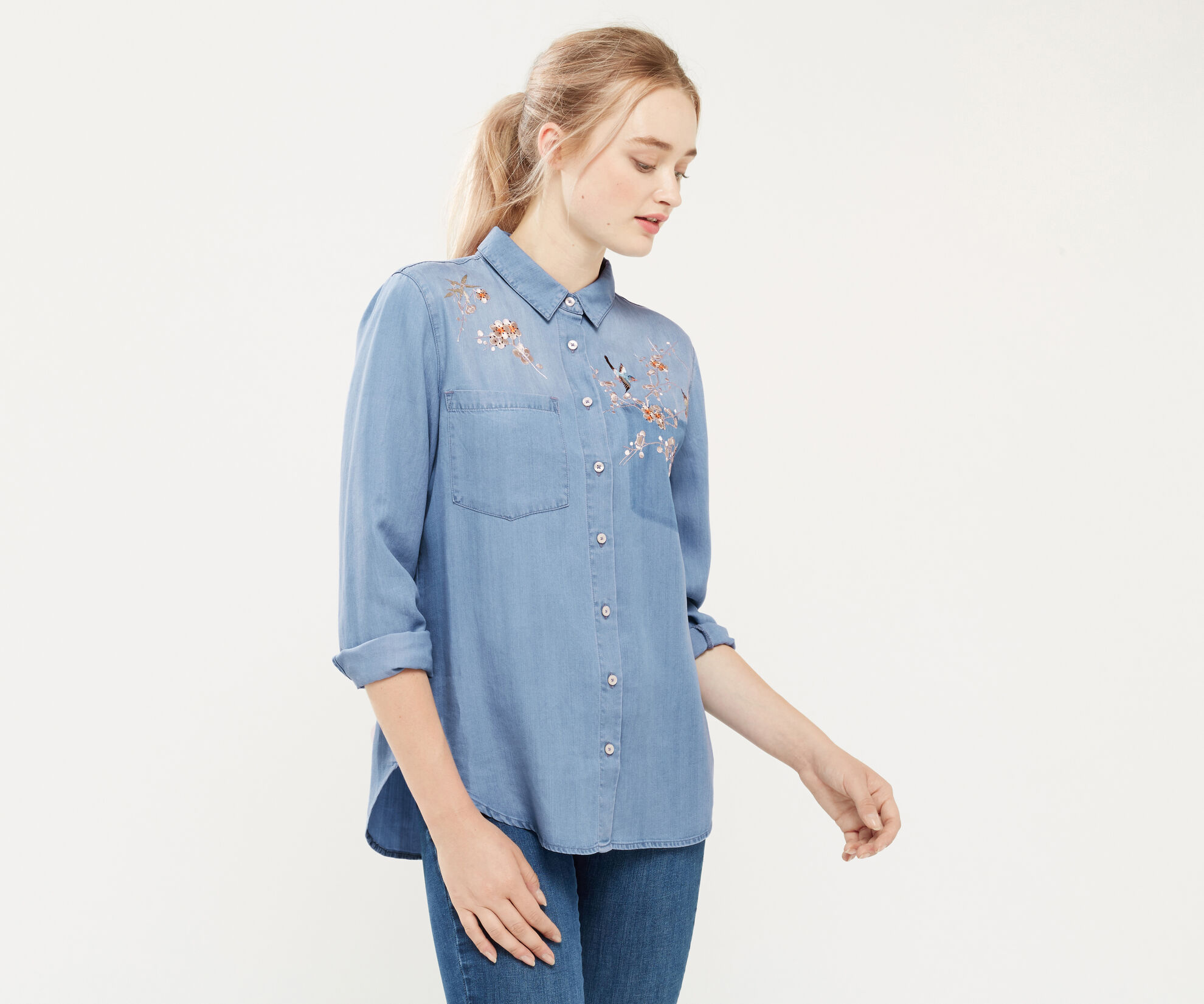 Oasis, Blossom embroidered shirt Denim 1
