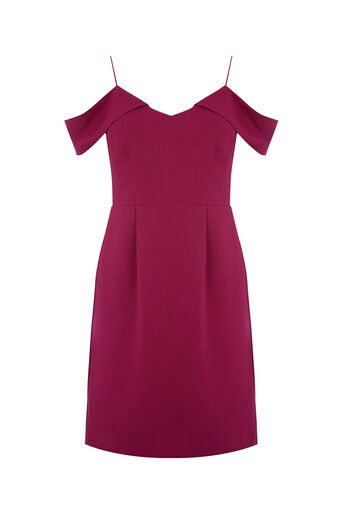 Oasis, COLD SHOULDER DRESS LONG Berry 0