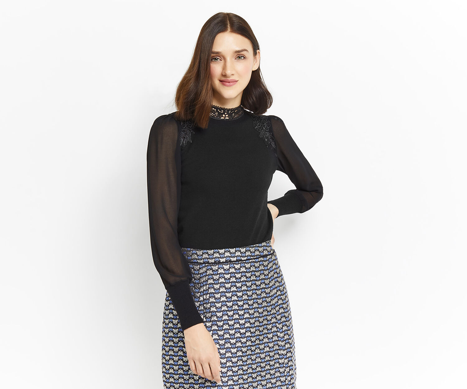 Oasis, LACE & SHEER SLEEVE KNIT Black 1