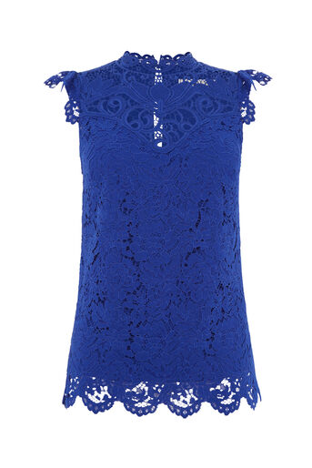 Oasis, LACE HIGH NECK TOP Turquoise 0