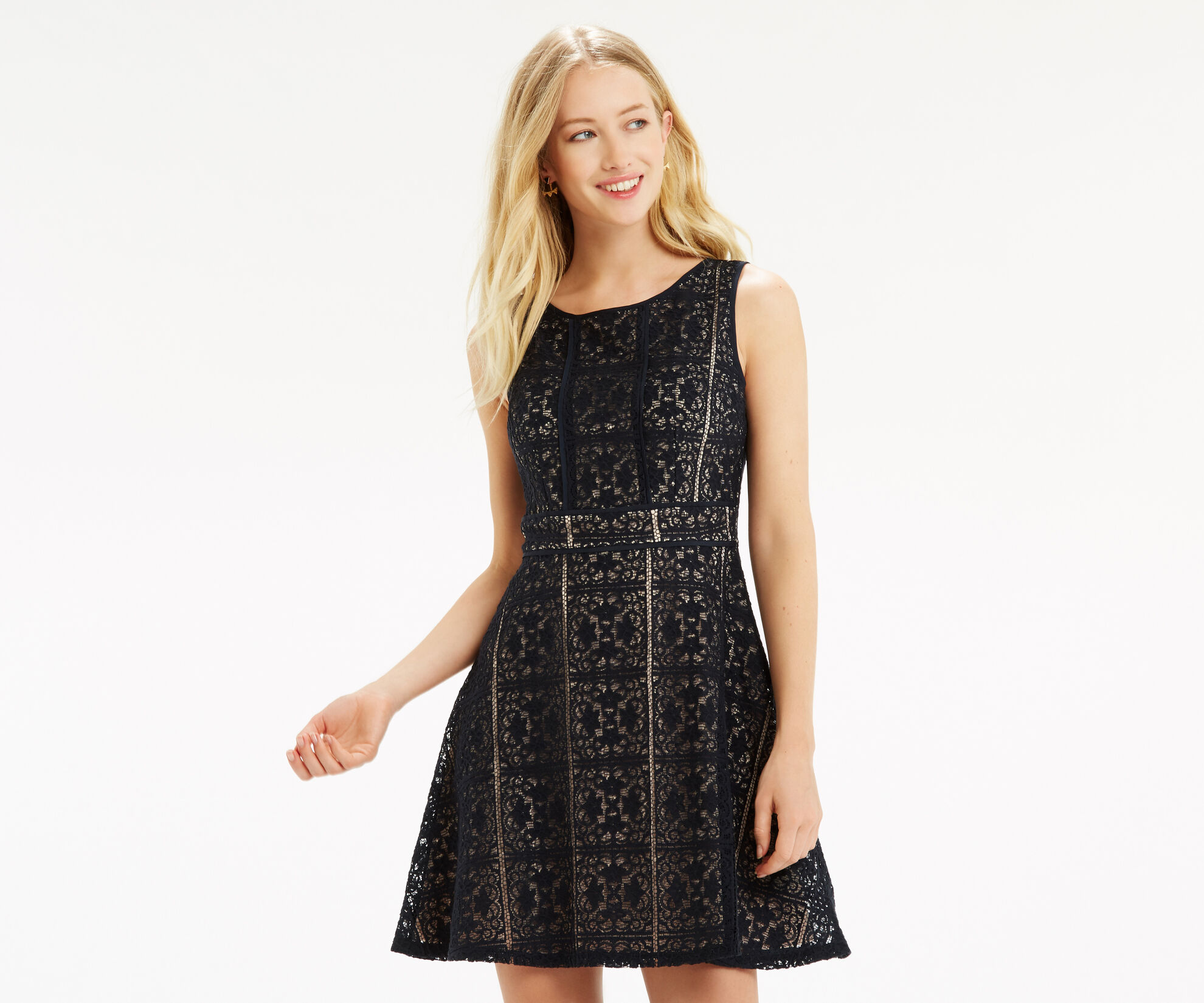 Oasis, Lace Skater Dress Mid Grey 1