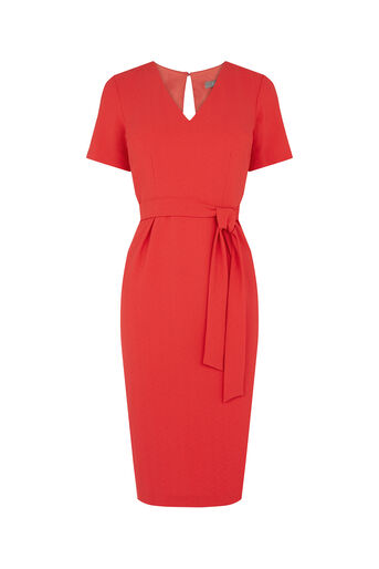 Oasis, Wiggle Belted Dress Mid Red 0