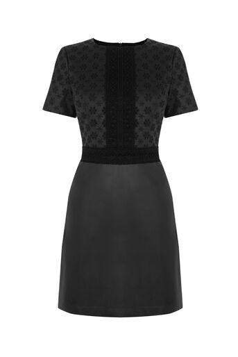 Oasis, FAUX LEATHER EMBROIDERED DRESS Black 0