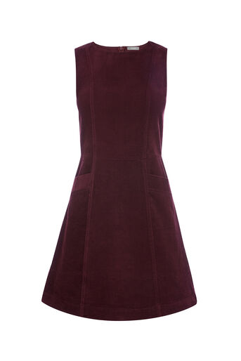 Oasis, CUT ABOUT CORD DRESS Burgundy 0