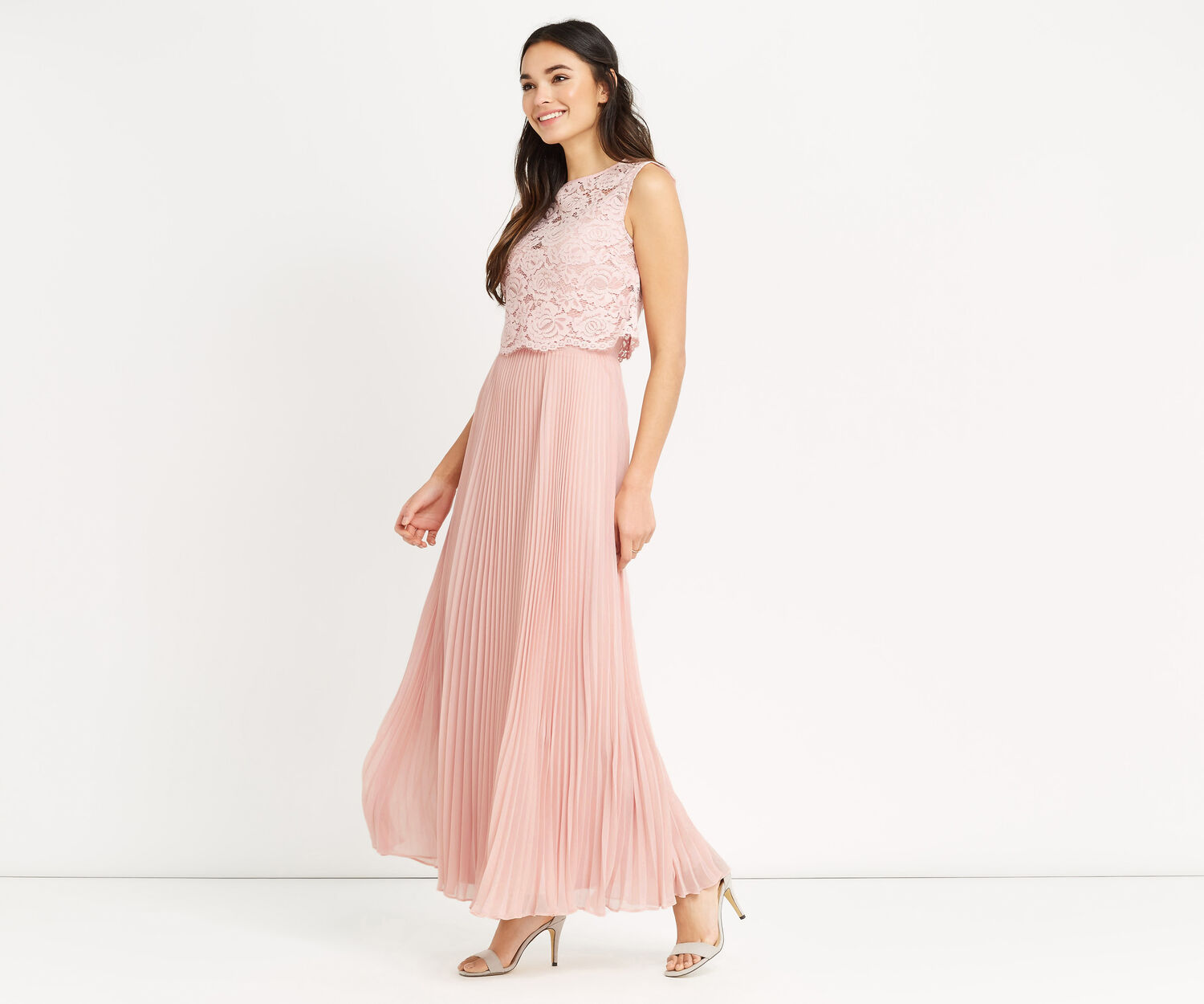 Oasis, 2 IN 1 LACE BODICE MAXI Dusky Pink 1