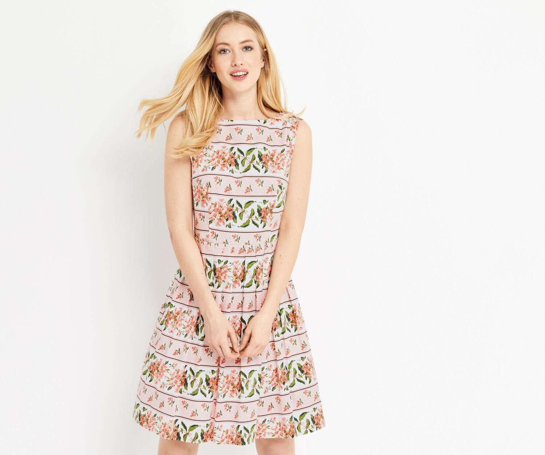 Oasis, STRIPE FLORAL DRESS Multi Pink 1