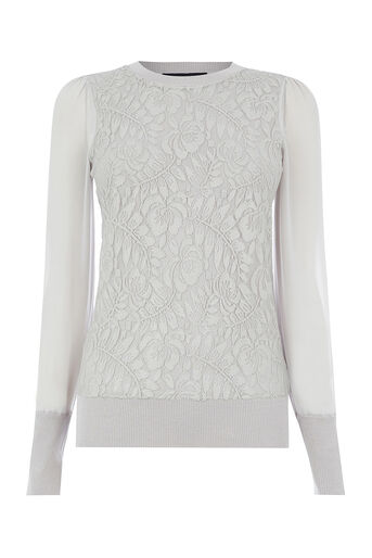 Oasis, METALLIC LACE KNIT Pale Grey 0