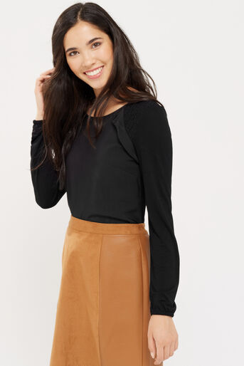 Oasis, RUFFLE WOVEN FRONT BLOUSE Black 1