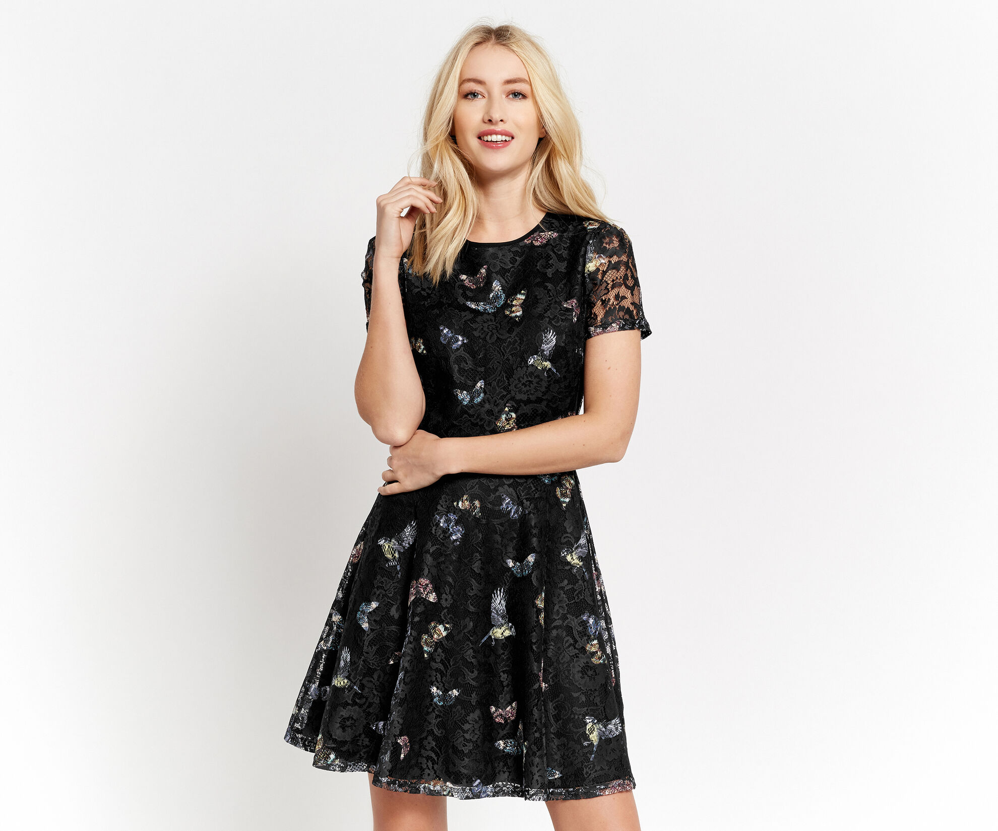 Oasis, FOREST BUTTERFLY LACE DRESS Black 1