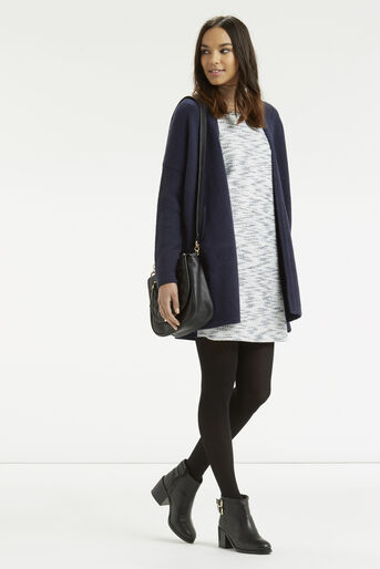 Oasis, Fringed Tweed Dress Navy 2