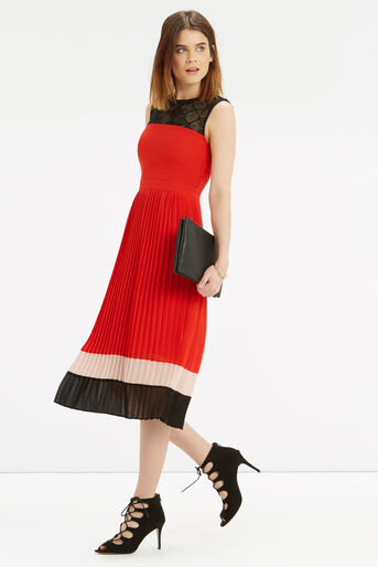 Oasis, Colour Block Pleat Dress Multi 2