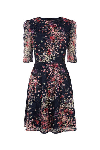 Oasis, PRINTED PUFF SLEEVE LACE DRESS Multi Blue 0