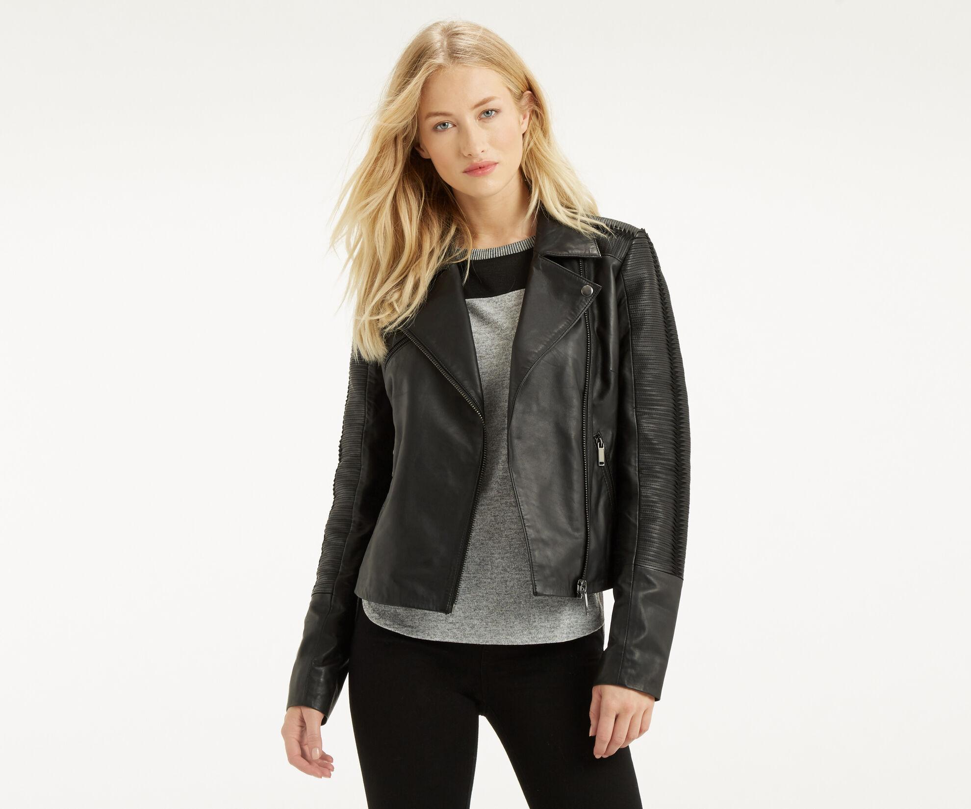 Oasis, Penny Leather Biker Jacket Black 1
