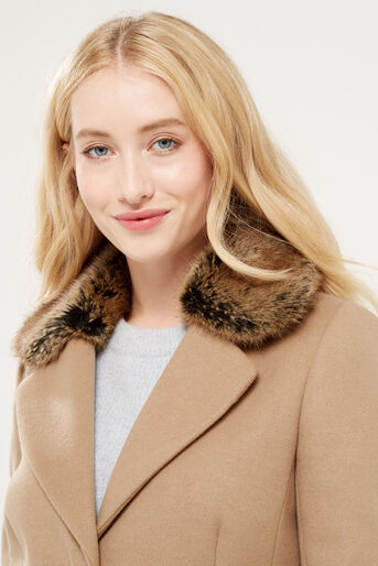 Oasis, FELICITY FORMAL FUR COLLAR COA Camel 4