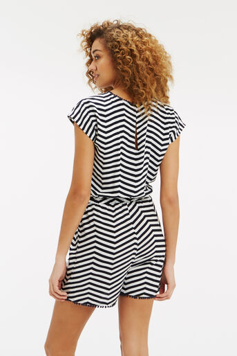 Oasis, Stripe Playsuit Black and White 3
