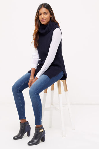 Oasis, Knitted shirt tabard Navy 2