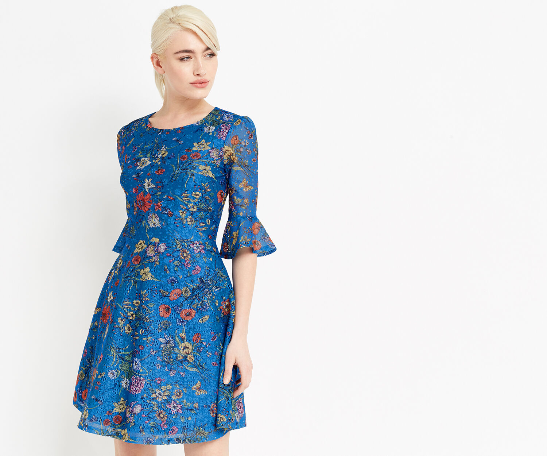 Oasis, AZELIA PRINTED LACE DRESS Multi Blue 1