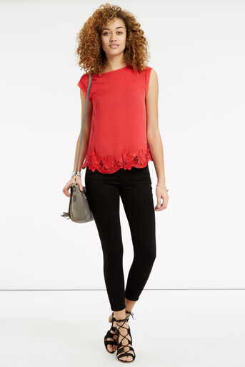 Oasis, Lace Hem T-Shirt Mid Red 2