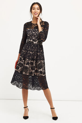 Oasis, LACE SLEEVE MIDI DRESS Black 2