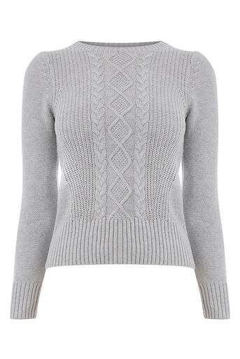 Oasis, Laura cable knit Mid Grey 0
