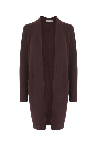 Oasis, Ribbed cosy cardigan Burgundy 0