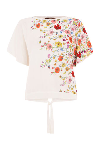Oasis, FLORAL TIE DETAIL TOP Off White 0