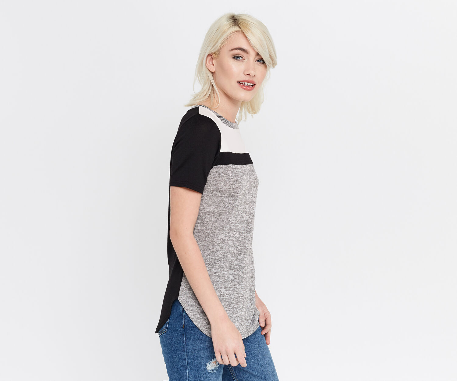 Oasis, COLOURBLOCK PATCHED TEE Multi Black 1