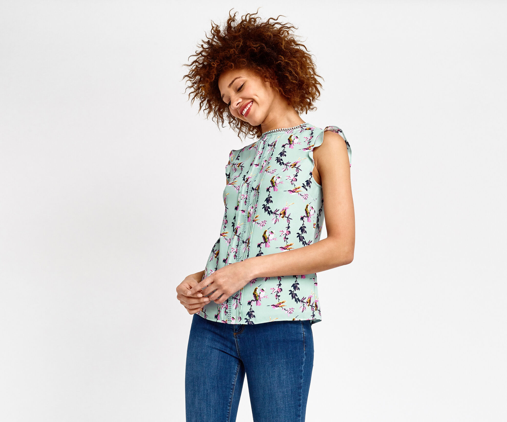 Oasis, LOTUS BIRD TOP Multi Blue 1