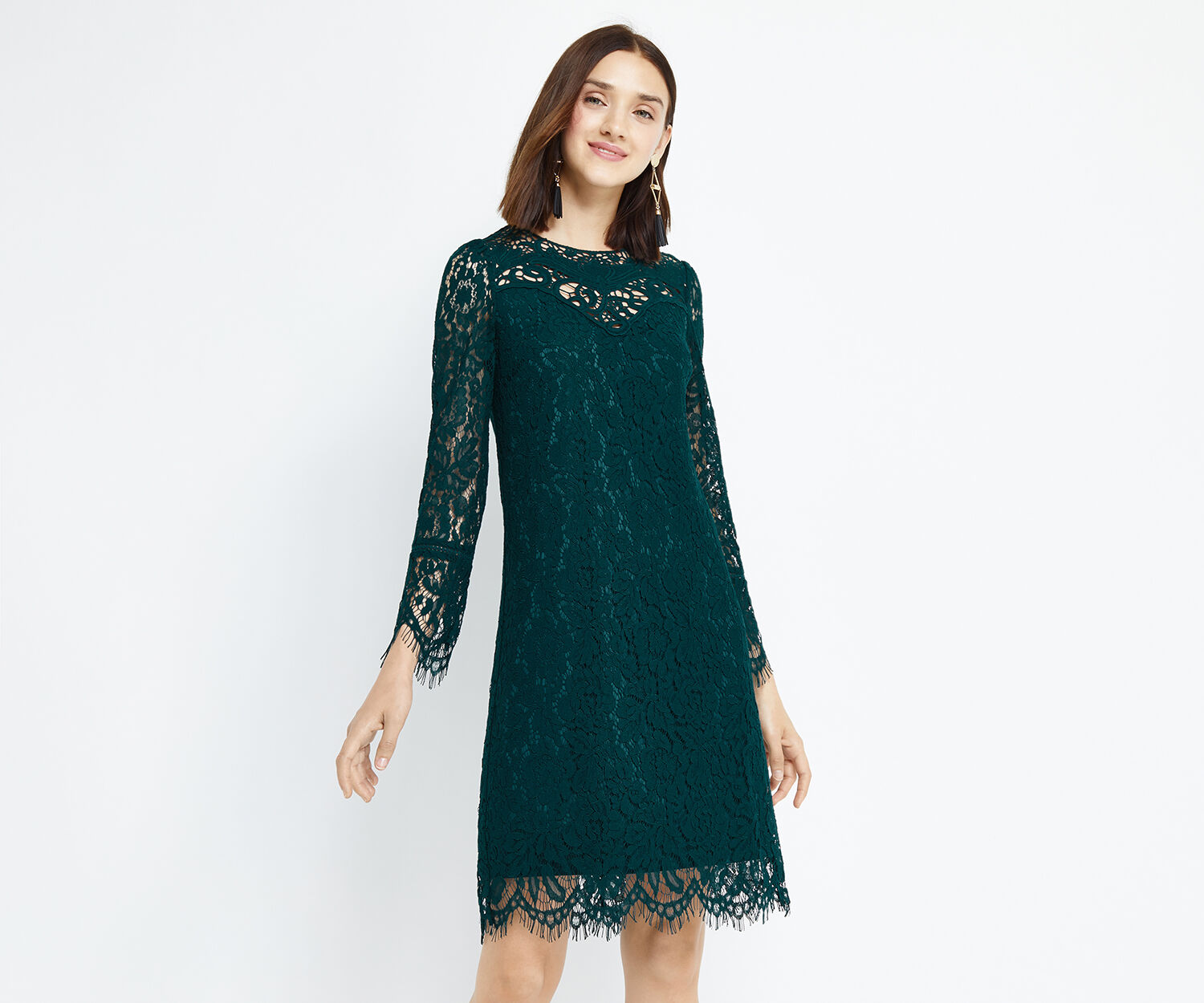 Oasis, LONG TRIMMED LACE SHIFT Turquoise 1