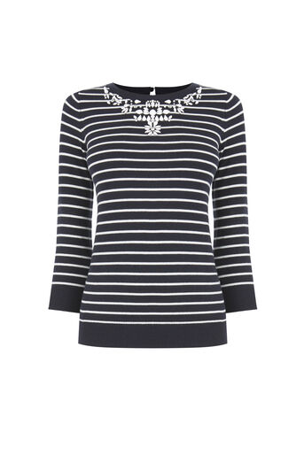 Oasis, Embellished Stripe Neck Top Multi 0
