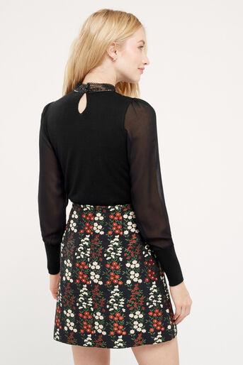 Oasis, Lace & sheer sleeve formal kni Black 3