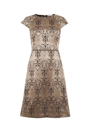 Oasis, LONG WARNER JACQUARD SHIFT DRESS Gold 0