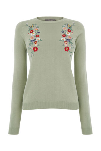 Oasis, RITES OF SPRING EMBROIDERED KN Pale Green 0