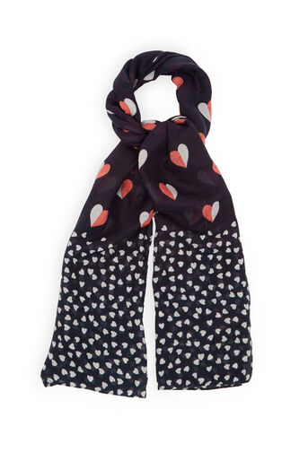 Oasis, HEART PRINT SCARF Navy 0