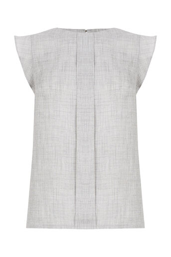 Oasis, Linen Look Top Mid Grey 0
